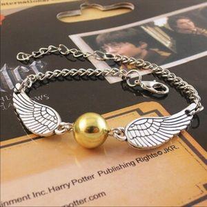 Harry Potter Silver Golden Snitch Wings Bracelet